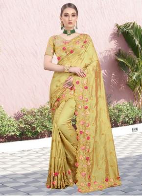 Silk Stone Bollywood Saree in Mustard