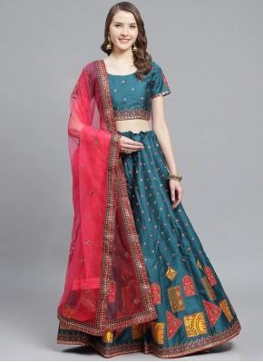Silk Teal Bollywood Lehenga Choli