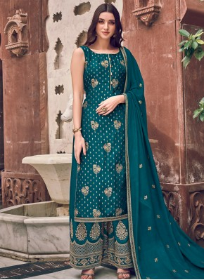 Silk Teal Embroidered Bollywood Salwar Kameez