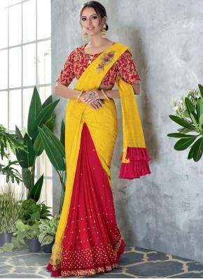 Silk Thread Work Red and Yellow Classic Designer Saree