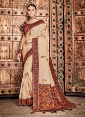 Silk Traditional Designer Saree in Cream