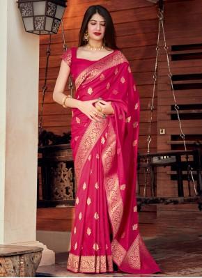 Silk Traditional Designer Saree in Rani