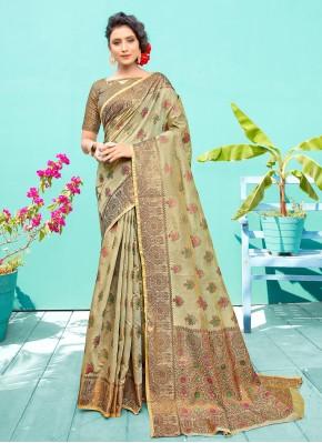 Silk Traditional Designer Saree in Sea Green