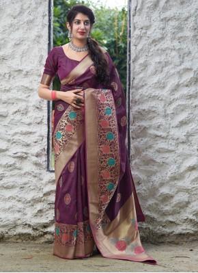 Silk Trendy Saree in Purple