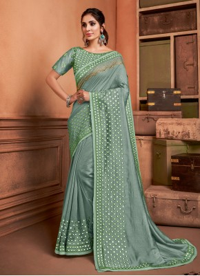 Silk Trendy Saree in Sea Green