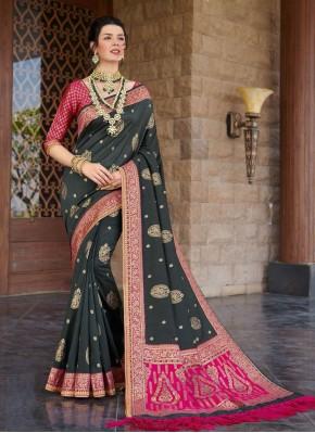 Silk Weaving Black Bollywood Saree