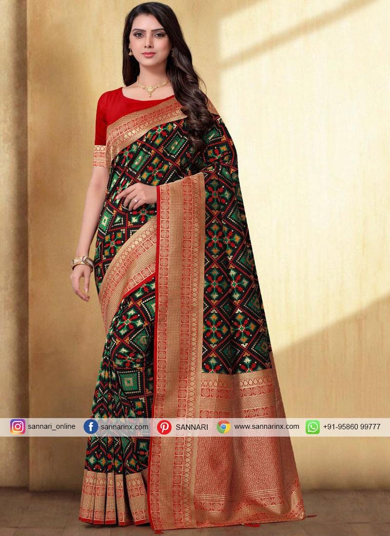 Silk Weaving Black Designer Traditional Saree