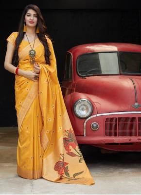 Silk Weaving Classic Saree in Orange