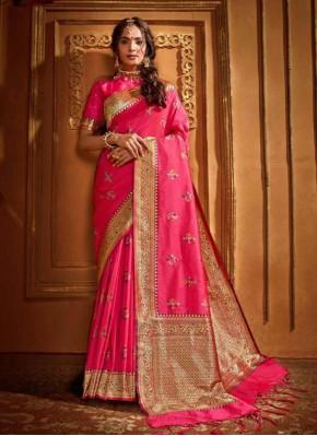 Silk Weaving Classic Saree in Pink
