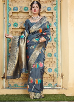 Silk Weaving Contemporary Saree in Grey