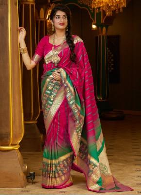 Silk Weaving Designer Bollywood Saree in Pink