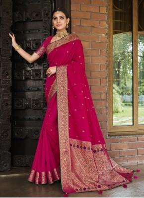 Silk Weaving Designer Traditional Saree in Rani