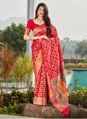 Silk Weaving Designer Traditional Saree in Red
