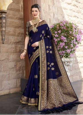 Silk Weaving Navy Blue Designer Saree
