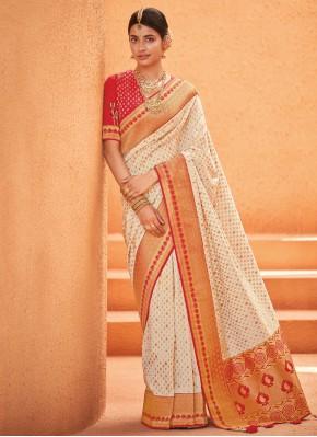 Silk Weaving Off White Designer Saree