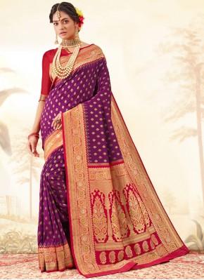 Silk Weaving Trendy Saree in Purple