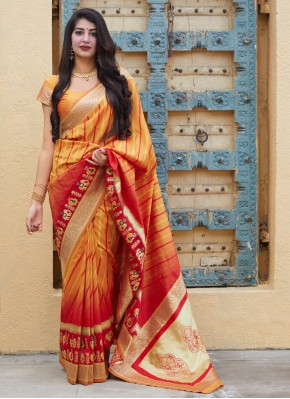 Silk Weaving Yellow Designer Contemporary Saree