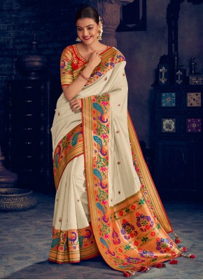 Silk White Embroidered Classic Saree