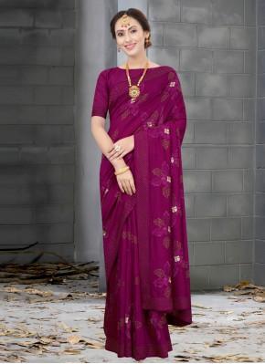 Silk Wine Designer Traditional Saree