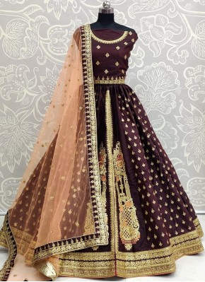 Silk Wine Embroidered Bollywood Lehenga Choli