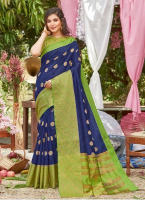 Silk Woven Blue Designer Traditional Saree