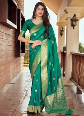 Silk Woven Designer Traditional Saree in Green