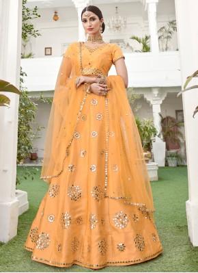 Silk Yellow Lace Lehenga Choli