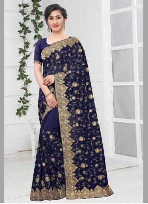 Silk Zari Bollywood Saree in Navy Blue