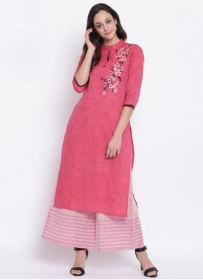 Simplistic Cotton Print Pink Party Wear Kurti