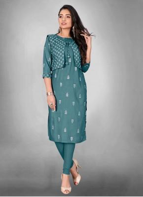 Simplistic Cotton Sea Green Print Party Wear Kurti
