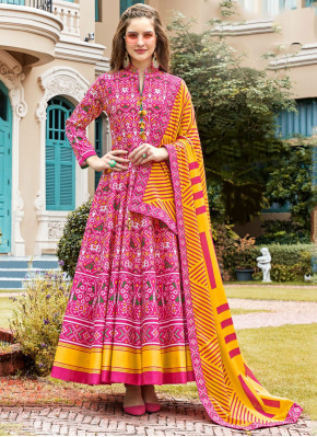 Simplistic Pink Handwork Silk Trendy Anarkali Suit