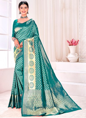 Simplistic Rama Jacquard Silk Designer Traditional Saree