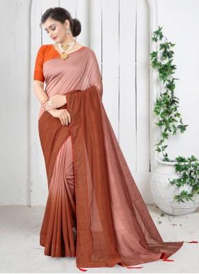 Simplistic Swarovski Silk Orange Shaded Saree