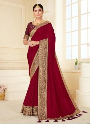Simplistic Vichitra Silk Festival Classic Designer Saree