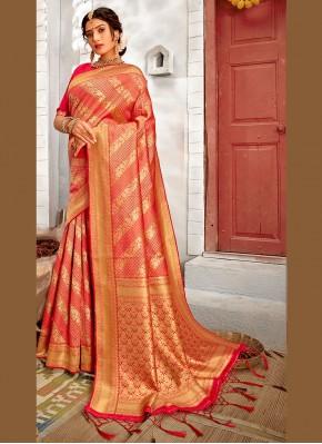 Simplistic Weaving Rose Pink Traditional Saree