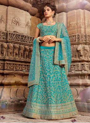 Sky Blue Wedding Silk Lehngha Choli