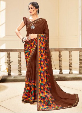 Snazzy Abstract Print Faux Georgette Traditional Saree