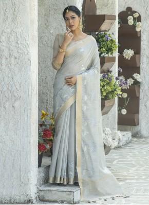 Snazzy Blue Resham Linen Designer Traditional Saree