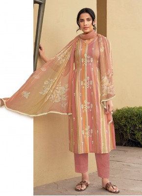 Snazzy Embroidered Cotton Designer Suit