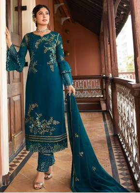 Snazzy Embroidered Teal Trendy Salwar Suit