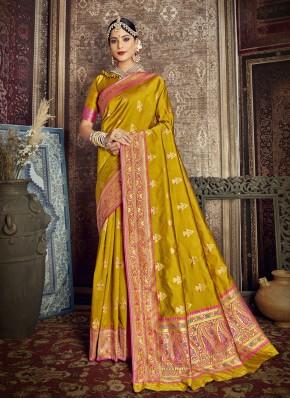 Snazzy Fancy Jacquard Silk Mustard Traditional Designer Saree