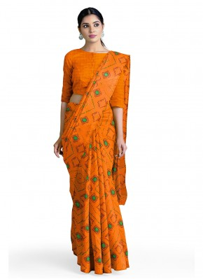 Snazzy Faux Georgette Orange Casual Saree