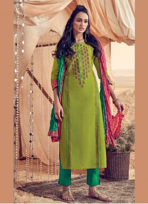 Snazzy Polly Cotton Green Resham Salwar Suit