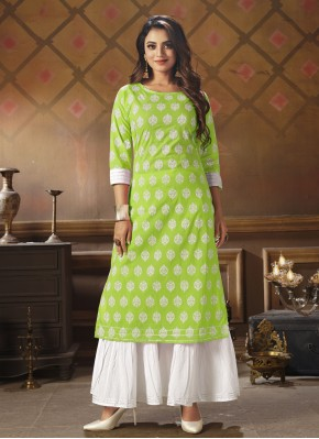 Snazzy Printed Cotton Party Wear Kurti