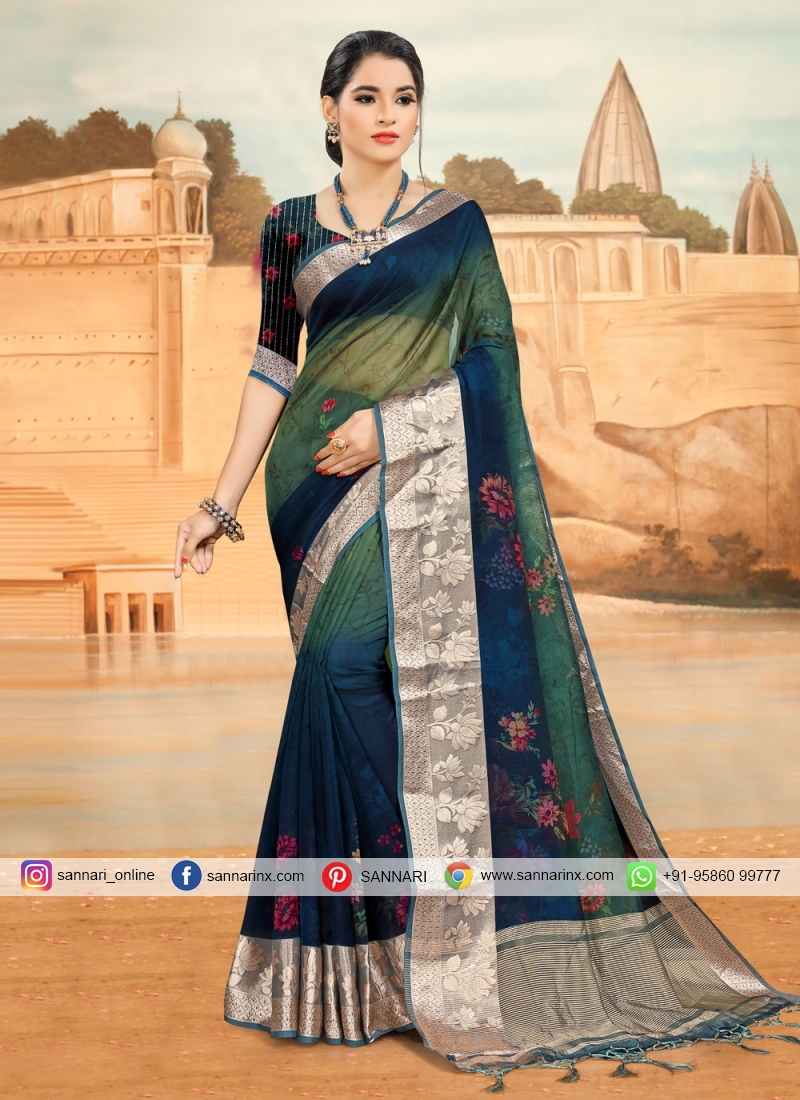 Snazzy Printed Saree For Ceremonial