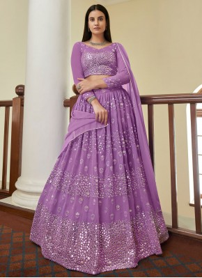 Snazzy Violet Mirror Bollywood Lehenga Choli