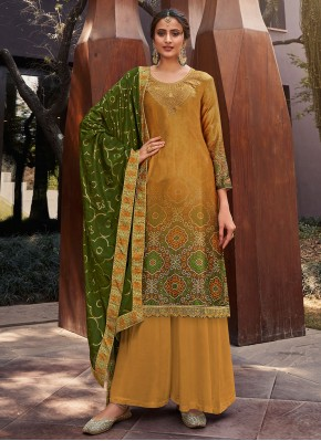 Snazzy Yellow Festival Designer Palazzo Suit
