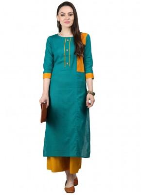 Sonorous Fancy Turquoise Cotton Party Wear Kurti