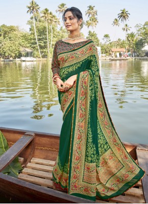 Sonorous Green Chanderi Printed Saree