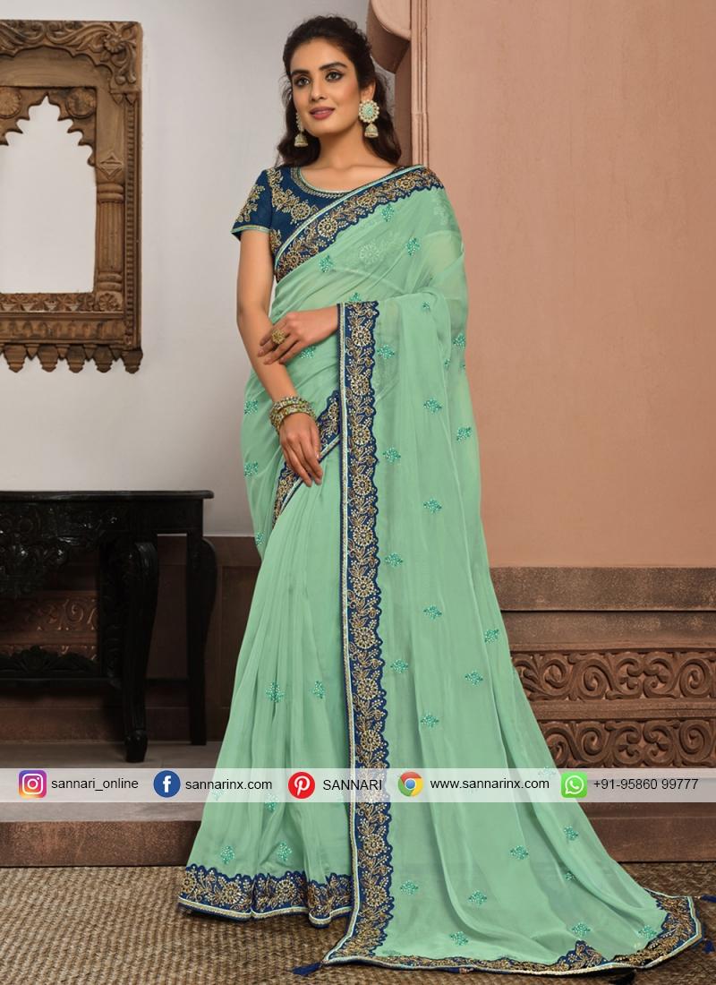 Sonorous Patch Border Mehndi Designer Traditional Saree